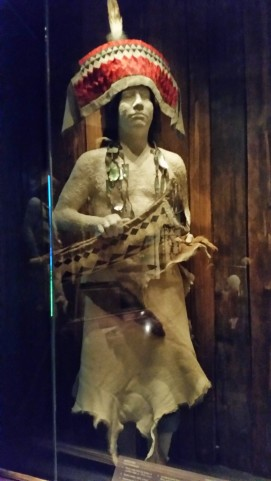 Hupa dancer, piliated woodpecker headdress abalone necklace, deerskin dance regalia