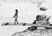 Fishing off platform at the Falls, Section of Joseph Drayton drawing, Wilkes Expedition 1841
