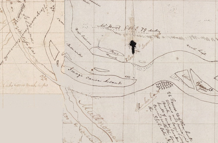 Portion of map showing Entrance of the Multnomah, noticed by the expedition in 1806. Beineke Digital Collection