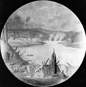 De Girardin in 1840s at Willamette Falls, with Native Longhouse in foreground