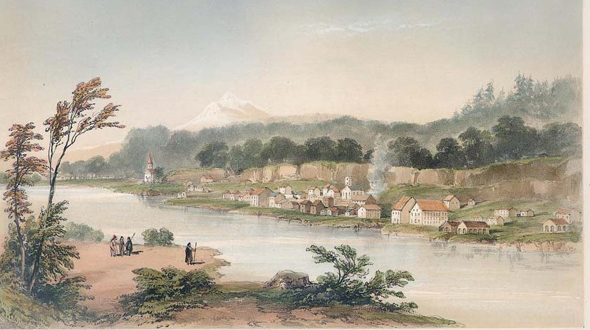 Warre circa 1850, Oregon City, facing to the east.