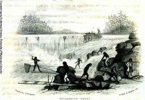 Indian Fishing At Willamette Falls 1841, Drayton woodcut.