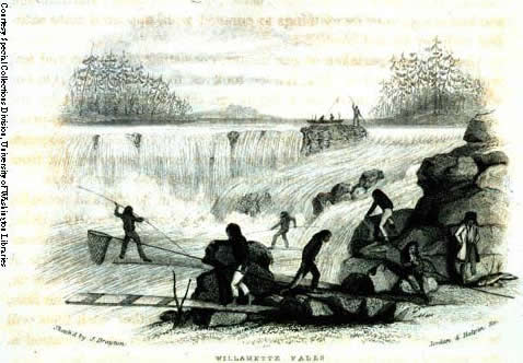 Indian Fishing At Willamette Falls 1841, Drayton woodcut.