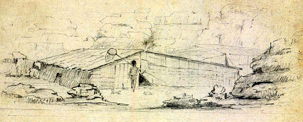 Alfred Agate , Plankhouse at the Dalles, 1841
