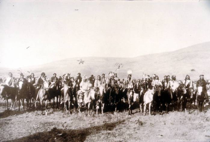 "Title Nez Perce group known as ""Chief Joseph's Band"", Lapwai, Idaho, spring, 1877 Date 1877 Notes A large group of men on horseback with mountains in the background. In the front center of the group can be seen Chief Joseph, White Bird and Looking Glass. Subjects Nez Perce Indians--Wars, 1877 Group portraits--Idaho Lapwai (Idaho) Joseph, Nez Perce Chief, 1840-1904 Looking Glass, Nez Perce Chief, d. 1877 White Bird, Nez Perce Chief Location Depicted United States--Idaho--Lapwai Object Type Photographs Negative Number L94-7.105 Collection Roy Berk Repository Northwest Museum of Arts and Culture Restrictions http://content.lib.washington.edu/aipnw/copyrights.html Transmission Data Image/JPEG"