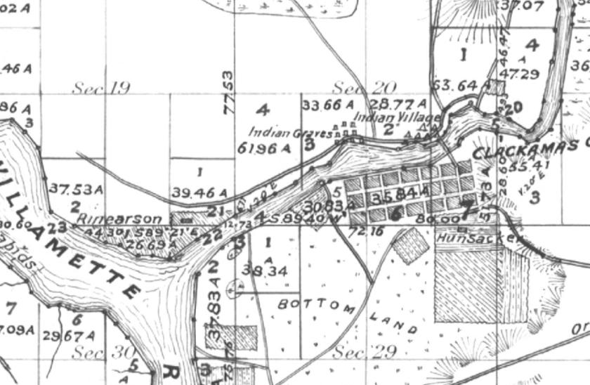 1852 GLO 2s,2e,showing Clackamas Indian Village