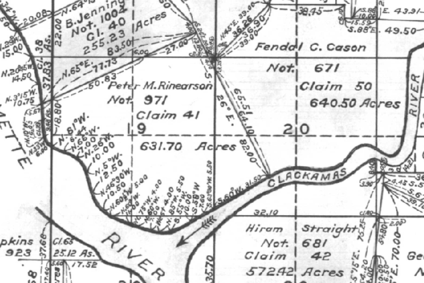 1862 GLO survey map showing the Cason DLC #50