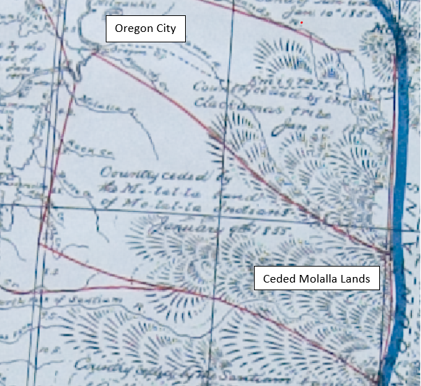 Section of 1855 Belden Map showing ceded Molalla Lands as far west at Oregon City
