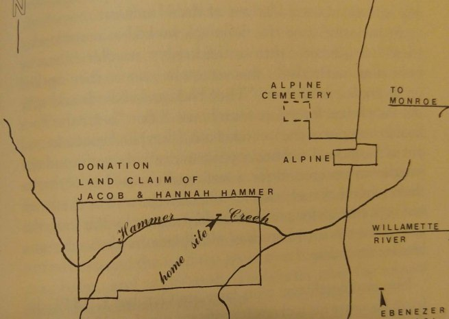 Hammer Allotment map from This Emigrating Company, The 1844 Oregon Trail Journal of Jacob Hammer, p 209.