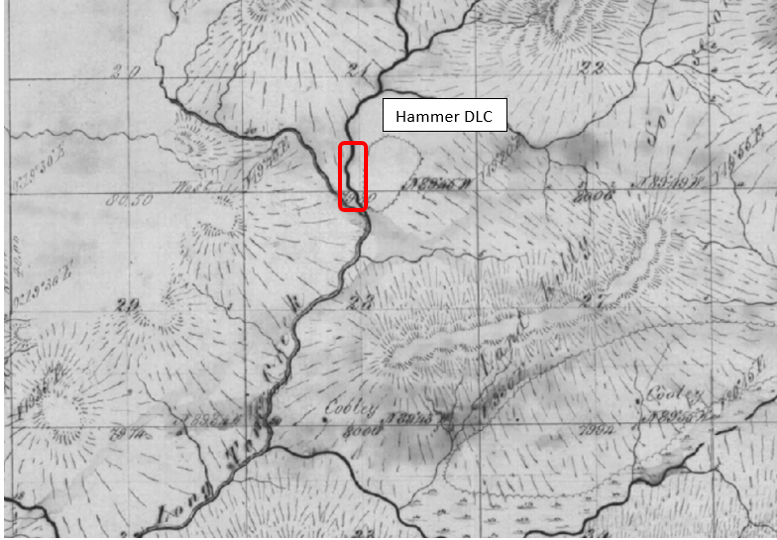 Jacob Hammer DLC, unmarked and unverified, matching Contemporary Google map and DLC descriptions from Benton County, GLO 16s 6w