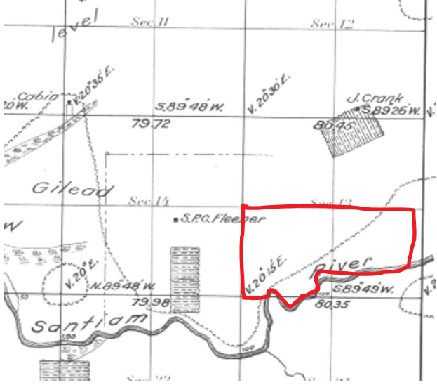 Joseph Crank Allotment with Possible location of the Chief Jo reservation among the Thomas Fork of the Santiam