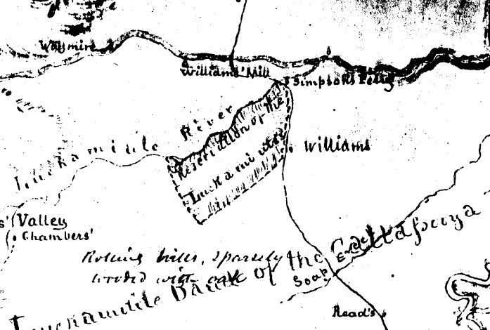 1851 proposed Luckimiute Reservation, note location of Simpson's Ferry, Section of Gibbs and Starling Map