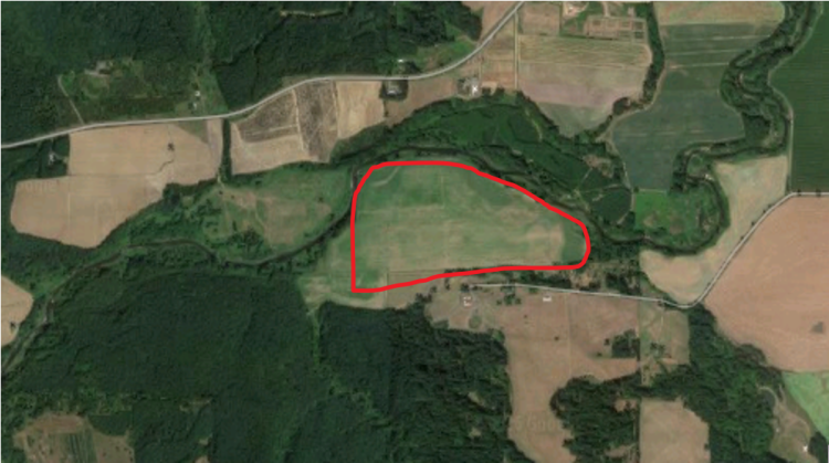 2016 Google map image of the assumed location of the 1855 reservation