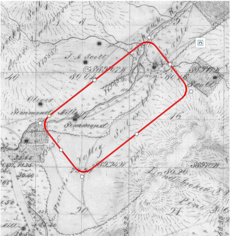 Estimated area for the Mohawk Indian Reservation (temporary)