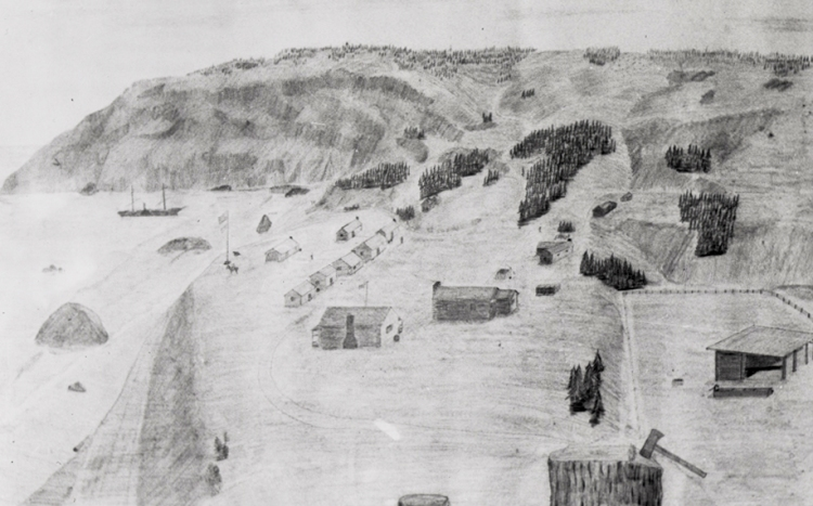 Drawing of Fort Orford, Oregon Territory, 1855. Port Orford about 1890, Oreg. Hist. Soc. Research Libr., bb008499