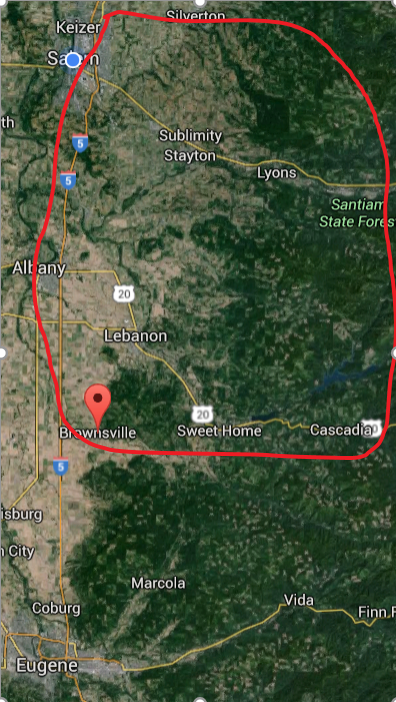 Santiam Kalapuya Homelands, the area between Salem on the north and Brownsville, with alignments with the tribes in Eugene. From the Willamette river on the west to the Cascades