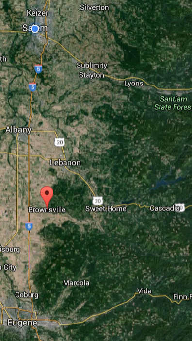 Area of the Willamette Valley and Cascades foothills, likely Santiam political area.