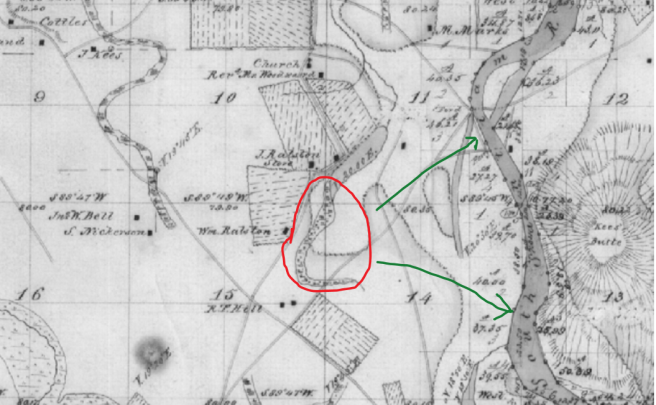 General area of the Santiam reservation 1855, note location in reference to the river meander. GLO map 12s 2w