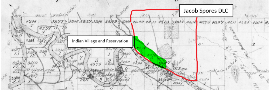 Estimated boundaries of the Spores DLC and location of the Chafin village and Temporary Reservation
