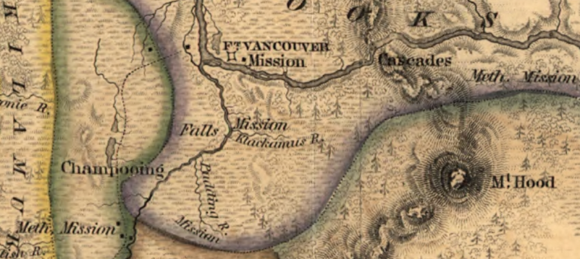 Wilkes' 1845 U.S. Expeditionary map of the lower Willamette Showing Champooing