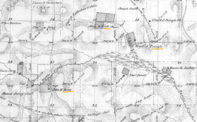 Jory, Minto and Pringle properties along Battle Creek, 1852 GLO map8s 3w