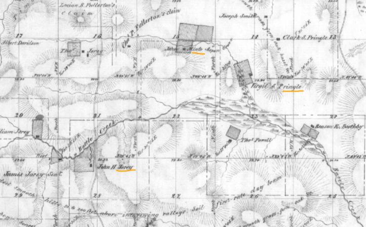 Jory, Minto and Pringle properties along Battle Creek, 1852 GLO map8s 3w