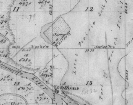 """Section of GLO map, note spelling of Gervais name as """"Jarry""""."""