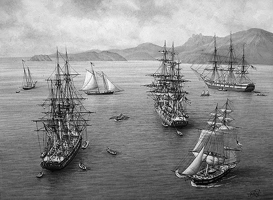Masted ships in the Northwest, part of the fur trade