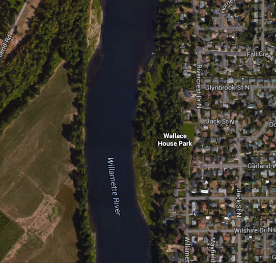 Location of the Wallace House site, 2016 Google Maps