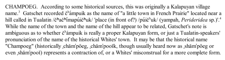 section from Zenk 2006 with Linguistic discussion of Champoeg Name