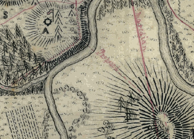 Section of 1856 Map of GRIR, OT showing narrow passage the people had to walk through to get out of the Grand Ronde Valley, with Fort Yamhill on the Hill watching the Pass