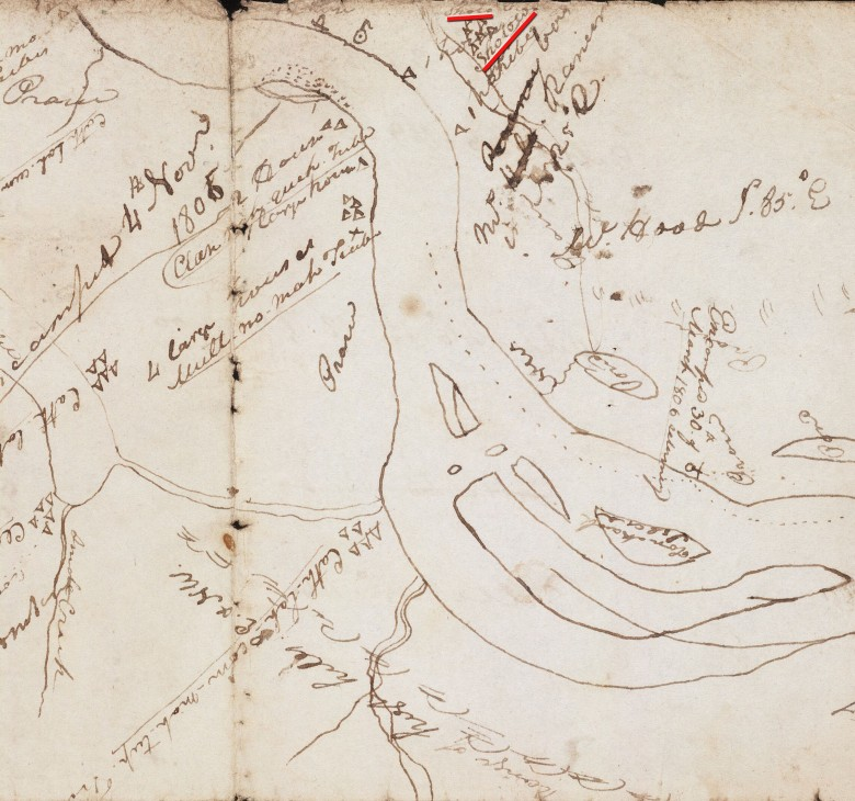 Larger section of Lewis and Clark Map, 1805-1806, showing location on North side of River near present day Vancouver WA. Digital collections, Beineke Library, Yale U.