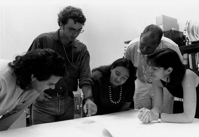 SWORP II team viewing Oregon Treaties 1997, from left, David Lewis, Mark Tveskov, Patti Whereat, Robert Kentta, Deni Hockema