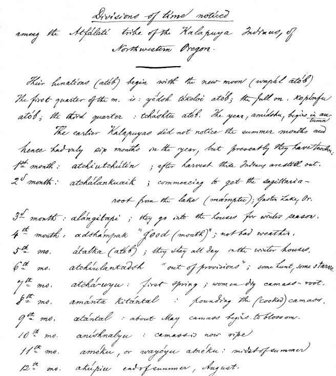 Tualatin Kalapuya Calendar, Albert Gatschet 1877
