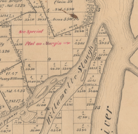 1866 OR Cadestral Survey 4n1w showing area of Smith Land claim, see below