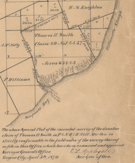1866 inset, detailing Smith Landclaim, the likely location of the Milton Encampment, the Temporary reservation of the Clatskanie and Ne-Pe-Chuck