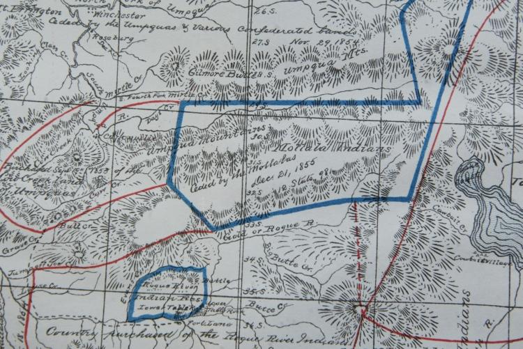 Rogue AKA Table Rock reserve, Belden Map portion 1855