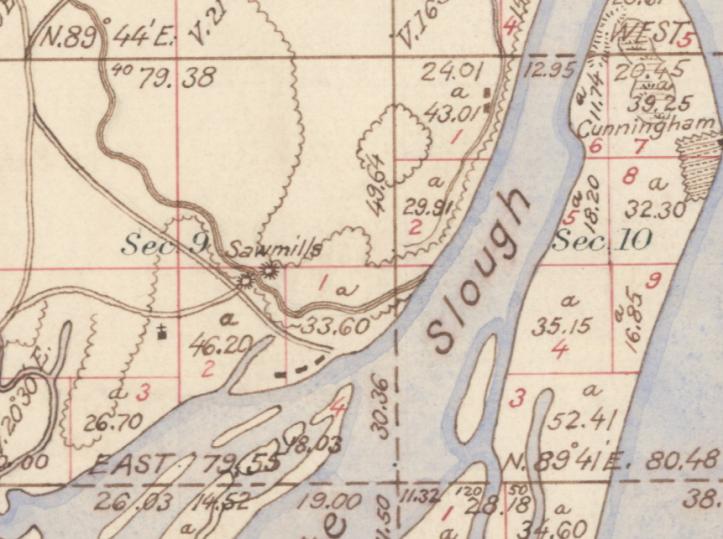 1854 Oregon Cadestral Survey 4n1w, depicting mills on Milton Creek