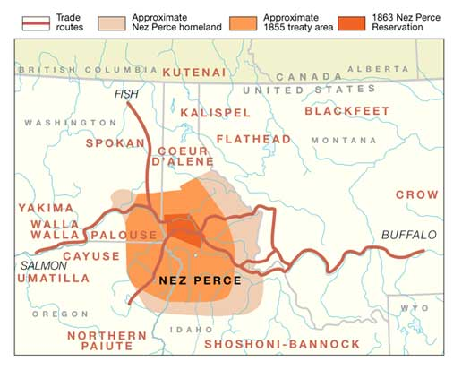 Nez Perce Treaty area, National Park Service Map