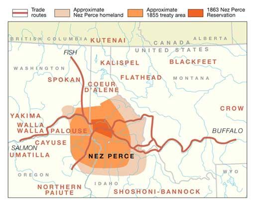 Nez Perce Treaty area, National Park Service Map