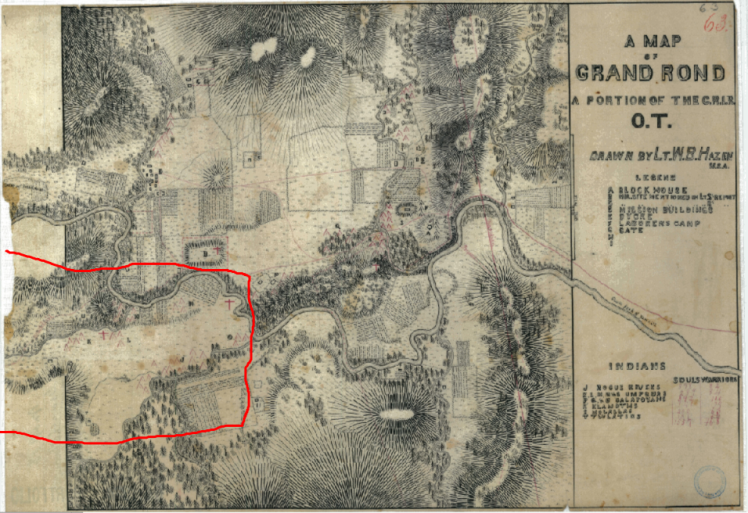 Hazen Planning Map for the G.R.I.R., O.T. 1856, Umpqua Encampment section outlined