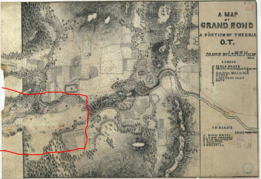 Hazen Planning Map for the G.R.I.R., O.T. 1856, Umpqua Encampment section outlined