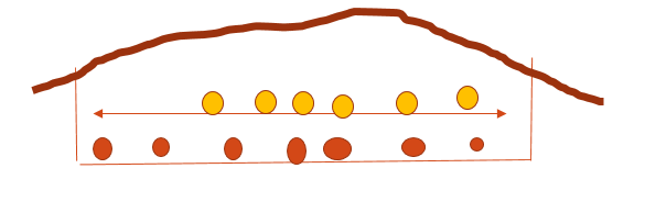 Graphic of a Camas oven, dug in the ground, layered with hot rocks, blanches, leaves, and camas layers, sections could be subdivided for families, , oven would be covers with earth and hot rock replaced ever day for abotu 3 days to create an oven. the Camas would cook and be carmelized, the starches transformed to useable proteins for human consumption