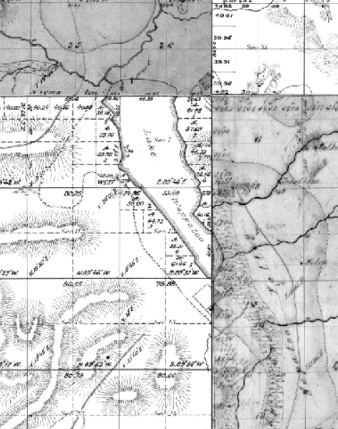 Wapato Lake, pieced together from four GLO maps, 1854