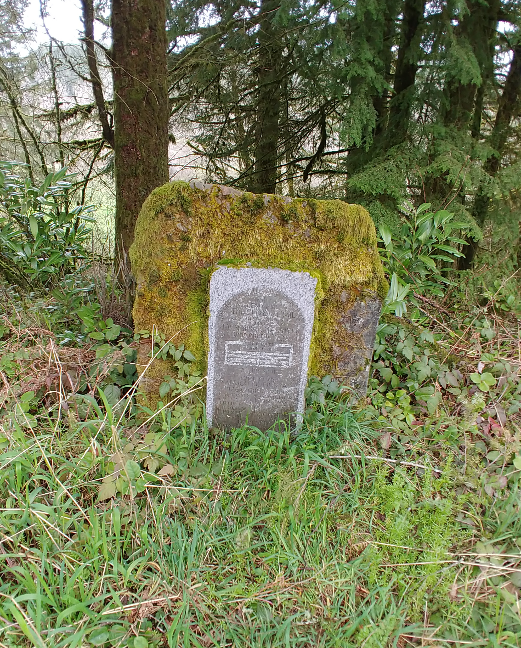 The granite marker notes the the Old